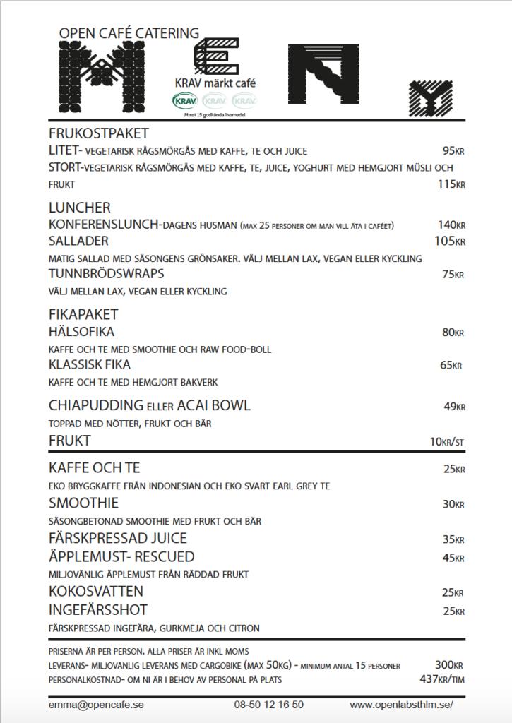 Open Café Catering Menu, updated 2018.01