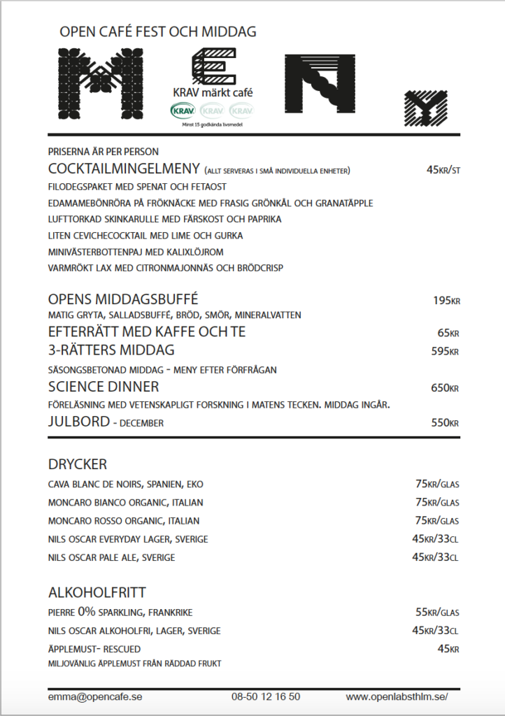 Open Café dinner/party menu, updated 2018.01
